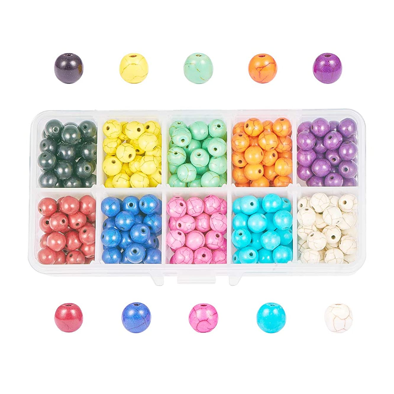 NBEADS 1Box 350Pcs/Box Jewelry Round Beads Synthetic Turquoise Beads for Jewelry Making, Mixed Color, About 8mm in Diameter, Hole: 1mm