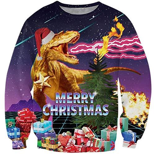Loveternal Weihnachtspullover Dino Ugly Unisex Christmas Sweater Hässliche 3D Druck Pullover Dino Weihnachten Langarm Xmas Dinosaurier Pullover Dinosaur Jumper M