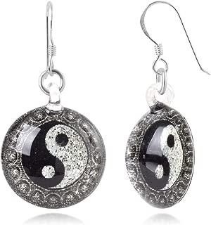 Sterling Silver Venetian Murano Glass Yin Yang Mandala Symbol Dangle Earrings, Color Variations