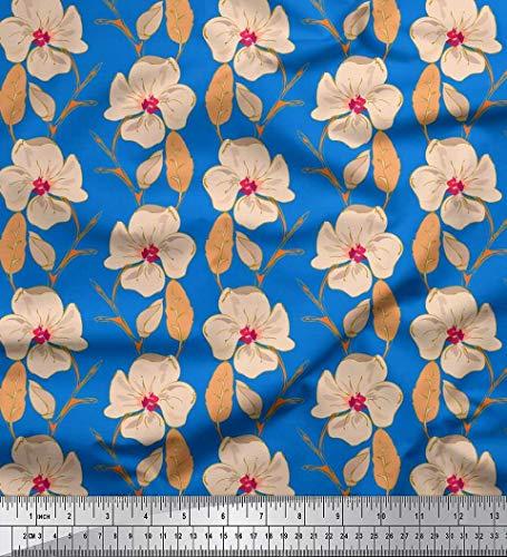 Soimoi Bleu Mousse Georgette en Tissu Feuilles et Primrose Floral Tissus imprimes par Metre 42 Pouce Large