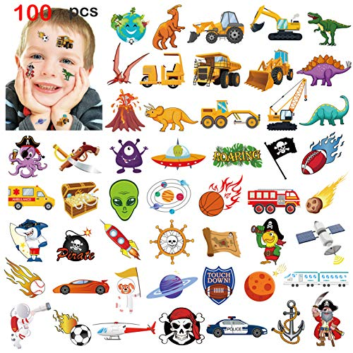 Kids Temporary Tattoos(100pcs),Konsait Solar System Outer Space/Pirate/Construction Zone Tractor Truck/Dinosaur Shark Face Tattoo for Boys Stockings Stuffers Goody Filler Birthday Party Favor Supplies