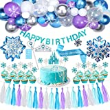 Golray Frozen Birthday Party Supplies Girls Princess Elsa Birthday Party Decorations 61 Balloons, Birthday Banner, Paper Tassel, Sash, Pin, Cupcake Cake Topper, Foil Balloons, Tattoos, Crown Wand, Frozen Party Supplies Birthday 2nd 3rd 4th 5th Decor