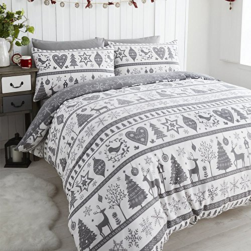 Noel Quilt Duvet Cover and Pillowcase Bedding Bed Set Christmas Trees, Grey, Single