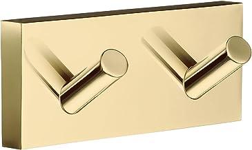 SMEDBO RV356 dubbele handdoekhaak huis van gepolijst messing, goud, 9 x 4 x 4 cm