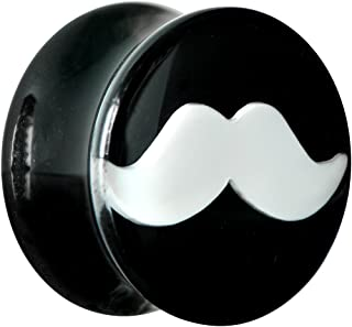 Body Candy Black Acrylic White Mustache Saddle Ear Gauge Plug (1 Piece) 5/8""