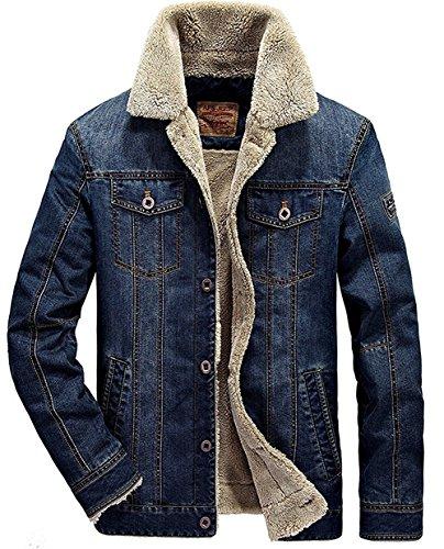 Minetom Hommes Hiver Manches Longues Blouson Nouvelle Veste en Jean Masculine Jacket Trucker Denim Épais Chaud Casual Outwear Bleu Foncé A EU M