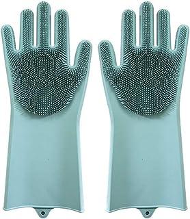 Shengshihuizhong 食器洗い用手袋、女性用厚手手袋多目的清掃用手袋、振動するシリコーンブラシボウルのアーティファクト、緑、ピンク、紫、青、ライトグリーン 食器洗い機用手袋 (Color : ピンク)