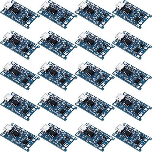 20 Piezas Módulos de Carga TP4056 Tablero de Carga de Batería con Protección de Batería Módulo de Carga 18650 BMS 5V Micro USB 1A 18650