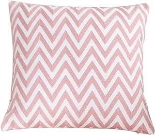 Outflower - Funda de cojín ondulada bordada con diseño de flores, 45 x 45 cm, color rosa