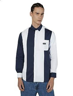Splash Striped Chest Pocket Long Sleeves Cotton Shirt for Men