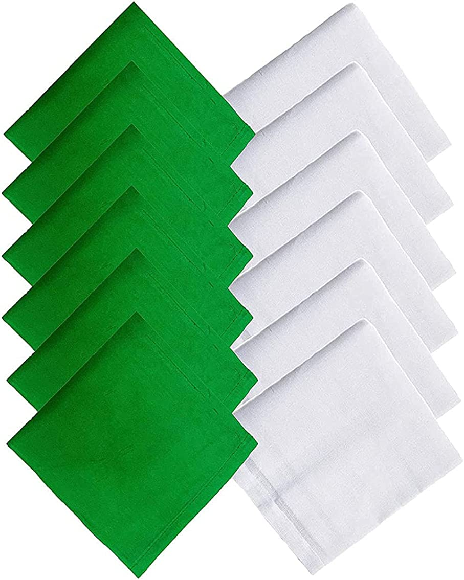 Kalagiri Cotton Premium Collection White And Green Handkerchiefs Hanky Set For Men - Pack of 12 Pcs