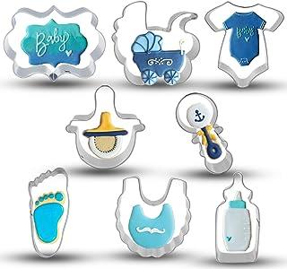 Wecepar 8 Pieces Baby Shower Cookie Cutter Set with Making Onesie, Bib, Rattle, Bottle, Nipple, Brand, Footprint, Baby Car...