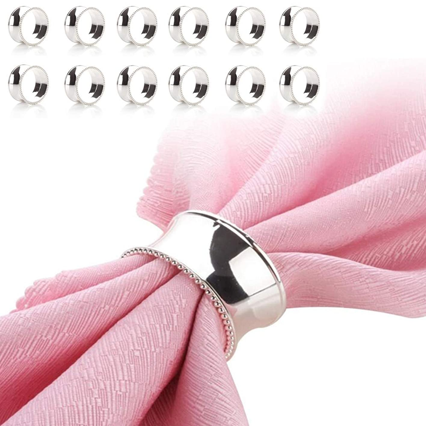 HSCC666 Set of 12 Napkin Rings, Silver Napkin Ring Holders with Bead Side for Table Decorations, Wedding, Dinner, Party zxsqlzimwbk481
