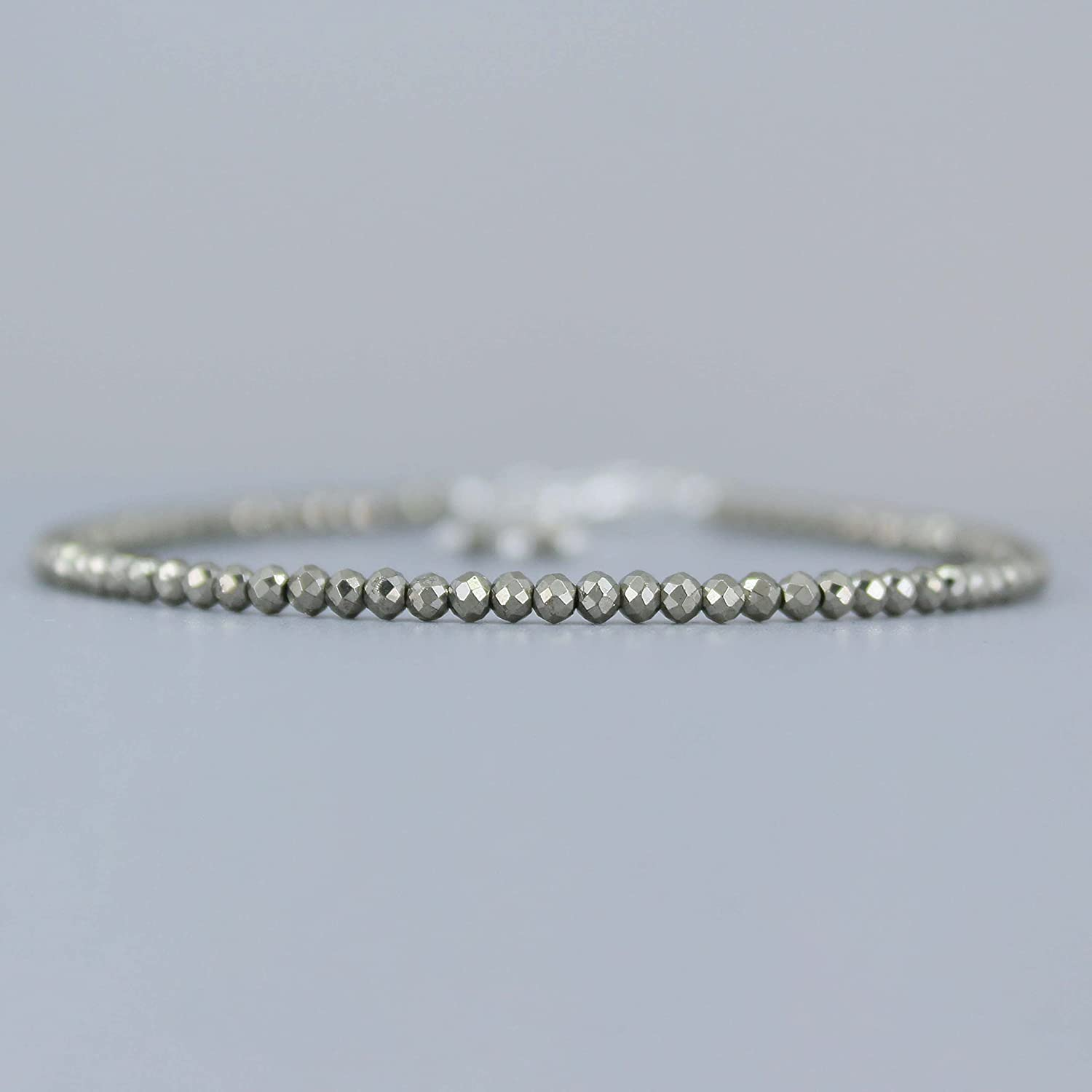Gempires Natural Pyrite Beads Bracelet, Faceted Beads, Energy He