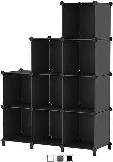SIMPDIY 本棚 大容量 整理棚 ワイヤー収納ラック 組み立て式 衣類収納ボックス 便利な ワードローブ - 黒(9ボックス)
