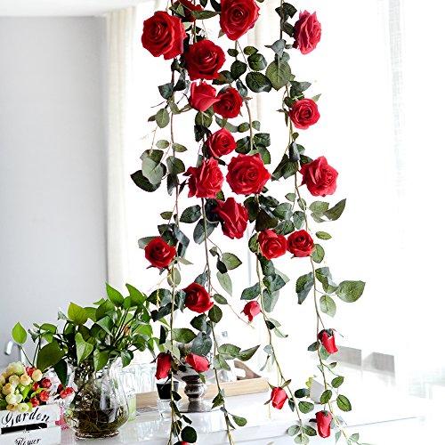 PROKTH - Guirlande de Roses et de Vigne artificielles à suspendre, Red, 180 cm/70.87 in