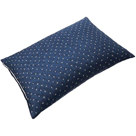 SEIDO そばがら 枕 日本製 そば殻 まくら 高さ調節可能 和柄 カバー付き (藍 大)