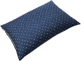 SEIDO そばがら 枕 日本製 そば殻 まくら 高さ調節可能 和柄 カバー付き (藍 小)