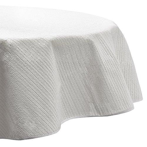 Beautissu Lena Gartentischdecke Rund 160 cm - Outdoor Tischdecke abwaschbar & wetterfest – Gartentisch Decke aus Weichschaum - Wasserabweisende Tisch Decke Weiß