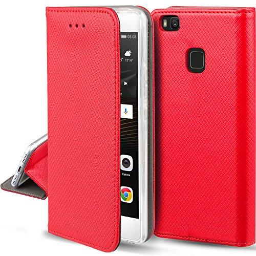 Moozy Cover Custodia a Libro per Huawei P9 Lite, Rosso - Flip Smart Magnetica con Funzione di Appoggio