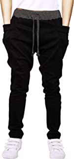 Boy's Cotton Sweatpants Adjustable Waist Jogger Pants Trousers in Basic Colors