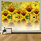 Psychedelic Tapestry Wall Hanging, Yellow Sunflower Tapestry Trippy Tapestry for Bedroom Living Room Dorm Home Decoration 60 x 51Inch
