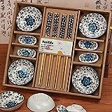 Dätenky Sushi Set de couverts en céramique pour 4 personnes bleu