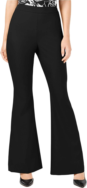 I-N-C Womens Solid Casual Wide Leg Pants, Black, 10