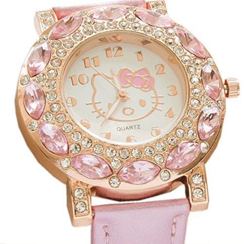 Unbekannt Kiss Me! Topmodel Hello Kitty Mädchen Kinder Armbanduhr Kids Analog Quarz Funkelnde Strassperlen Rosa Lederarmband Durchmesser 4cm Gehäuse 0,8cm Länge 24cm