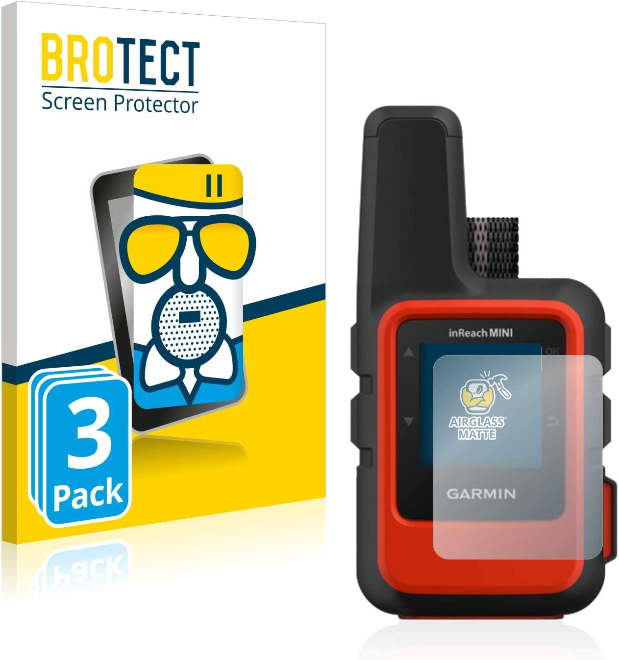 BROTECT Protector Pantalla Cristal Mate Compatible con Garmin inReach Mini Protector Pantalla Anti-Reflejos Vidrio, AirGlass (3 Unidades)
