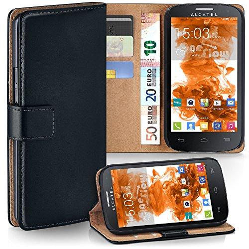MoEx Premium Book-Hülle Handytasche passend für Alcatel One Touch Pop C3 | Handyhülle mit Kartenfach & Ständer - 360 Grad Schutz Handy Tasche, Schwarz
