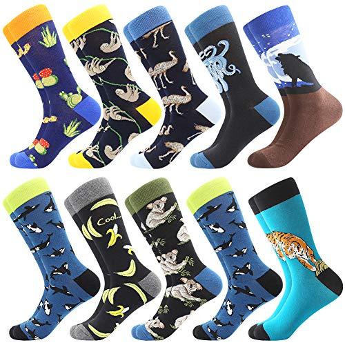 BONANGEL Herren Lustige Bunte Socken,Herren witzige Strümpfe, Fun Gemusterte Muster Socken, Verrückte Socken Modische Mehrfarbig Klassisch als Geschenk, Neuheit Sneaker Crew Socken (10 Paar-Wolf 3)
