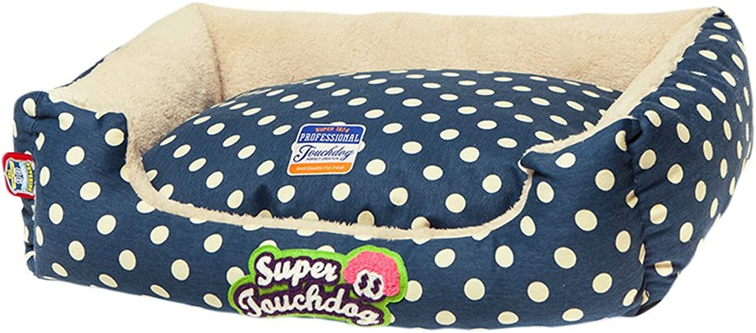 Huangyingui Pet Bed Kennel Kennel Four Seasons Removable And Washable Medium Small Dog Pet Supplies (color   bluee dots)