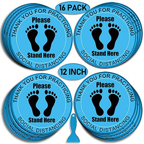 Social Distance Floor Stickers, 12' Round Vinyl Removable Decals,16 Pack Safety Floor Sign Marker, Please Keep 6 Feet Apart Decal, Crowd Control for Guidance, Grocery, Pharmacy, Bank, Lab.Blue