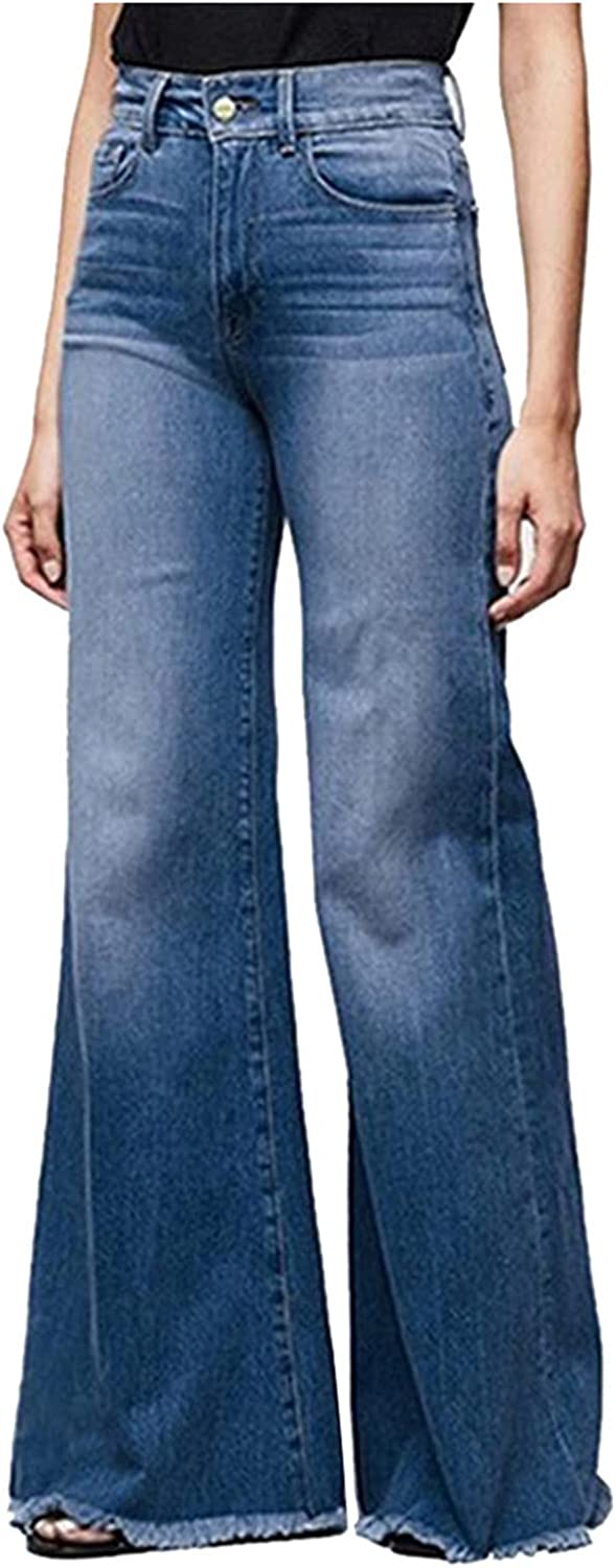 Women's Ripped Bell Bottom Jeans High Waist Classic Relaxed Fit Straight Wide Leg Y2k Distressed Jeans Pants