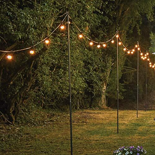 Festive Lights - 2.4m Festoon Pole for Hanging Lights, Lanterns, String Lighting - Metal Steel Garden Crook
