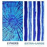 Genovega Microfiber Beach Towel Oversize, Extra Large 74'x36', 2 Pack Boho Stripe, Fast Quick Dry,Cool Pool Towel, Lounge Cover, for Women Men, Mom Dad, Best Friend Boyfriend Girlfriend