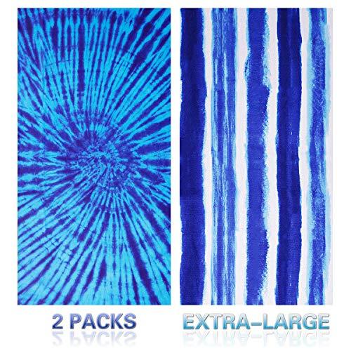 Genovega Thick Round Beach Towel Blanket - Black White Circle Picnic Carpet Yoga Mat