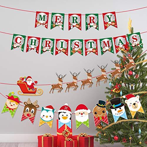 HAOYUMEI Rendier Kerstmis Thema Bunting Banner Vrolijk Kerstmis Banner voor Open Haard Kerstboom Party Decoratie