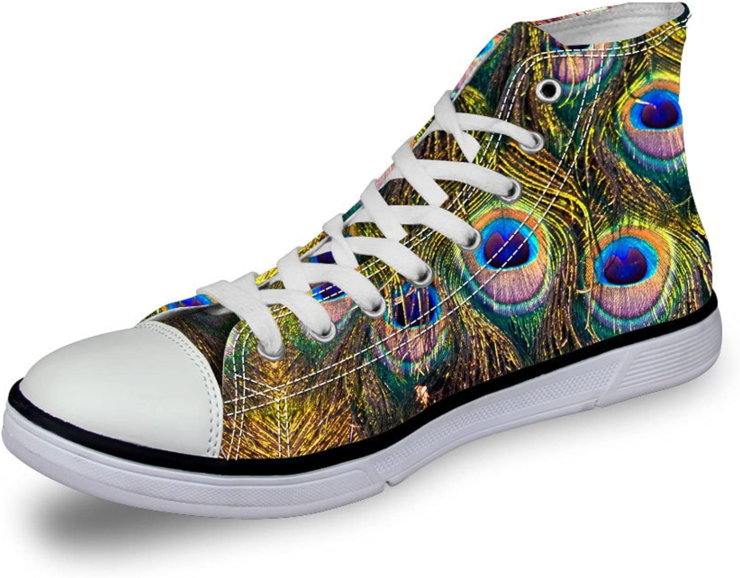 EnlaMorea Fashion Unisex 3D Peacock Feather Print Walking shoes High Top Canvas Sneakers,