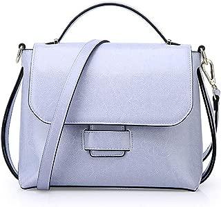 Mens Bag Messenger Bag, Brown Minimalistic Vintage Magnetic Buckle Square Leather Shoulder Bag High capacity