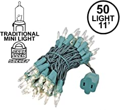Novelty Lights 50 Light Clear Christmas Mini String Light Set, Green Wire, Indoor/Outdoor UL Listed, 11' Long