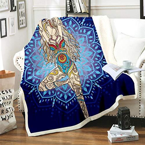 Manta Estampada Chica Tribal Caqui Azul Terciopelo de Cristal Lateral A, Terciopelo de Lana Blanca Lado B (180 x 200 cm) para Sala de Estar, hogar,