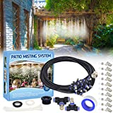 Tesmotor Misting Cooling System, 26FT Misting Line + 9 Brass Nozzles Outdoor Misters for Cooling, Misting System for Patio Garden Lawn Pool Umbrella Trampoline
