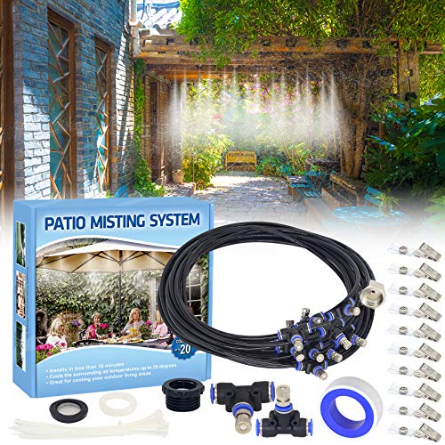misters Tesmotor Misting System for Cooling, 26FT Misting Line + 11 Brass Nozzles Outdoor Misters for Cooling, Misting System for Patio Garden Lawn Pool Umbrella Trampoline