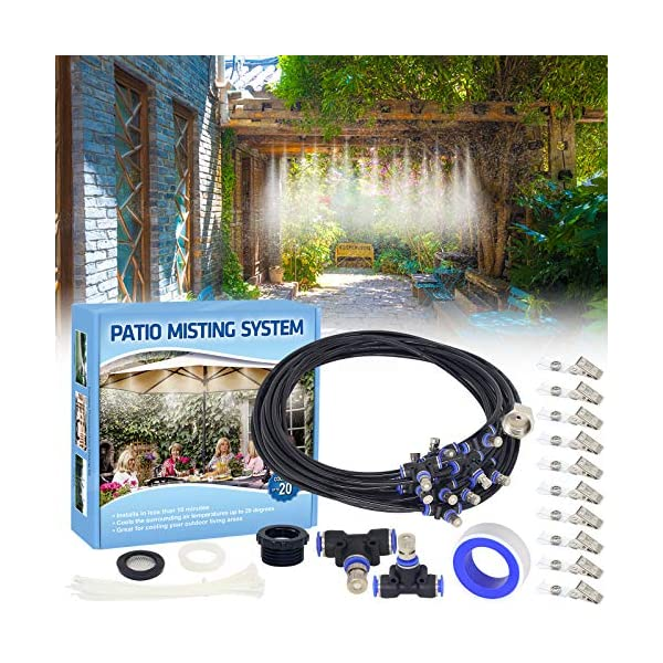 Tesmotor Misting Cooling System, Outdoor Misters for Cooling, Misting System for...