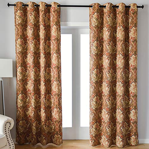 Kotile Paisley Floral Print Thermal Insulated Blackout Curtains, 2 Panels 63 Inch Length Grommet Soft Room Darkening Curtain with Fabric Digital Printing Polyester, Perfect forBedroom, Yellow