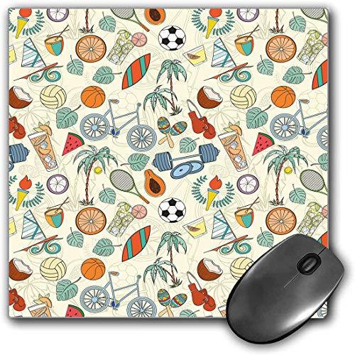 Mauspad-Spielfunktion Sport Dicke wasserdichte Desktop-Mausmatte Sport unter dem Motto abstrakte Cartoon-Stil-Ikonen Fahrrad Bälle olympische Flamme Gewicht Handschuhe,mehrfarbig,Rutschfeste Gummibas