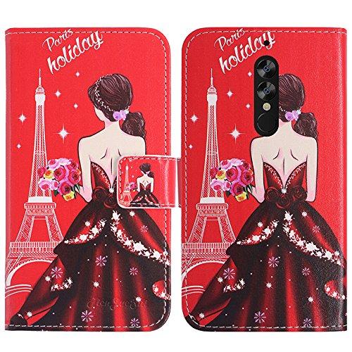 TienJueShi Traumfrau Flip Book-Style Brief Leder Tasche Schutz Hulle Handy Case Abdeckung Fall Wallet Cover Etui Skin Fur ELEPHONE A1 5 inch