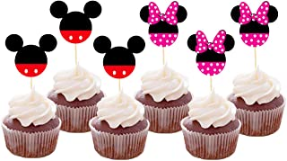 Set of 24 Pieces Cute Mickey Minnie Mouse Cupcake Toppers Kids Birthday Party Cake Decoration Supplies